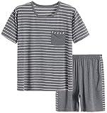 Latuza Men's Modal Sleepwear Striped Casual Pajama Set, Grey, Small