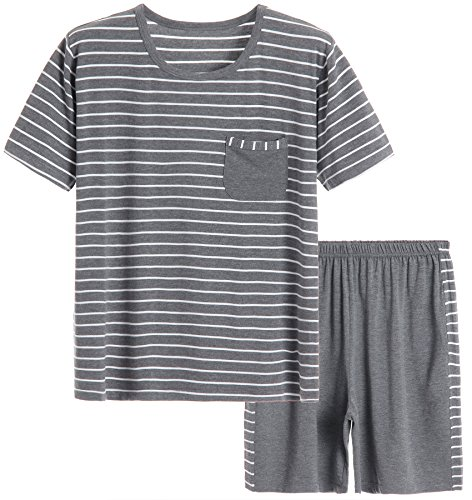 Latuza Men's Summer Sleepwear Striped Design Casual Pajama Set
