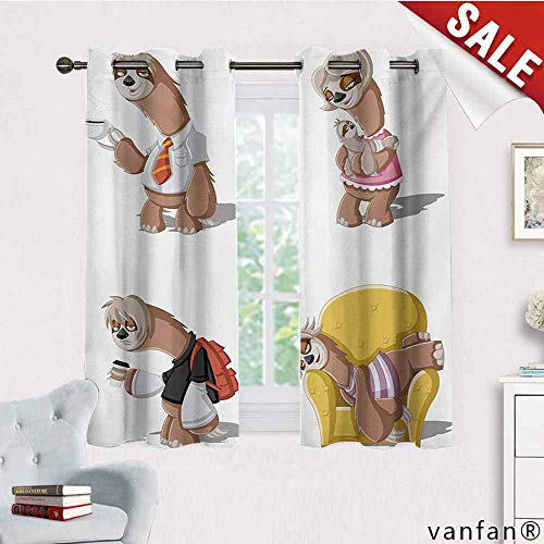 Big datastore Thermal Insulated Solid Grommet Curtain,Sloth,Cartoon Lazy Sloths Family Father Mother Baby Resting Drinking Coffee Going to Work,for Window Treatmentmulticolor,W63 Xl72 -