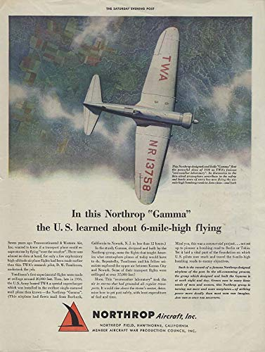 The US learned about 6-mile-high flying Northrup TWA Gamma