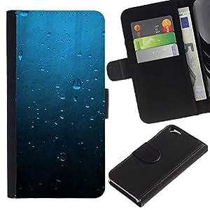 EJOY---Tirón de la caja Cartera de cuero con ranuras para tarjetas / Apple Iphone 6 / --Gotas de agua azul