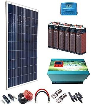 Kit Solar 12v 600W/3000W día Regulador de carga PWM 40A Inversor 2000w onda pura con cargador de 35 Ah Batería 5OPzS 375Ah