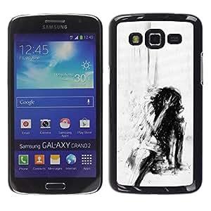rígido protector delgado Shell Prima Delgada Casa Carcasa Funda Case Bandera Cover Armor para Samsung Galaxy Grand 2 SM-G7102 SM-G7105 /Depression Deep Emo Black/ STRONG