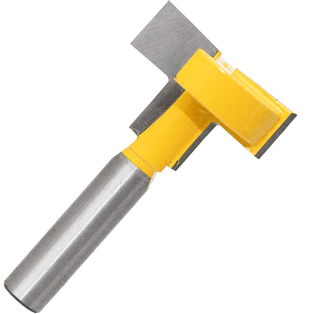 gasea 8/mm T-Track Router con ranura en T Forma Router Bits Copa madera de fresado Herramienta Router hoja borde vertical Bit amarillo