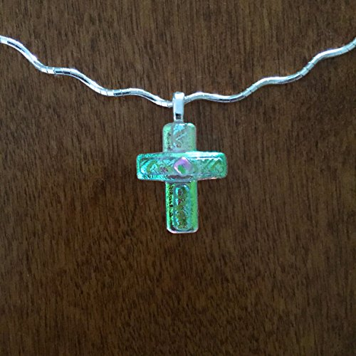 Dichroic Fused Glass Cross Pendant