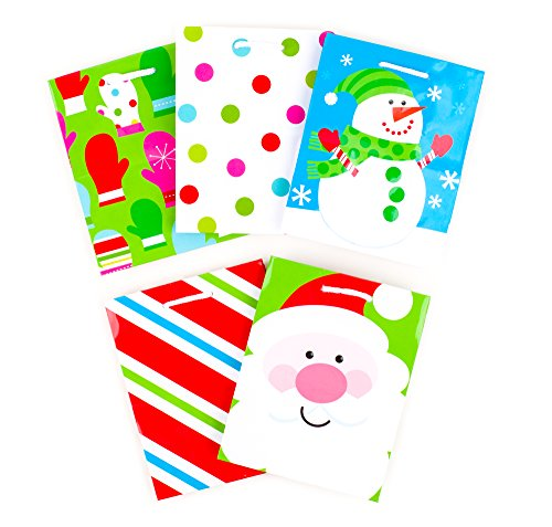Hallmark Holiday Small Gift Bags (Bright Christmas Icons, 5 Pack)