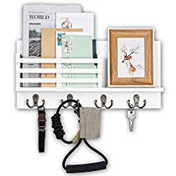 Entryway Wooden Key and Mail Holder for Wall Decorative – Mail Organizer Wall Mount, Entryway Organizer with 4 Key Rack Hooks…