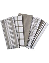 """DII Kitchen Dish Towels (Brown, 18x28""""), Ultra Absorbent & Fast Drying, Professional Grade Cotton Tea Towels for Everyday Cooking and Baking -  Assorted Patterns, Set of 5"""