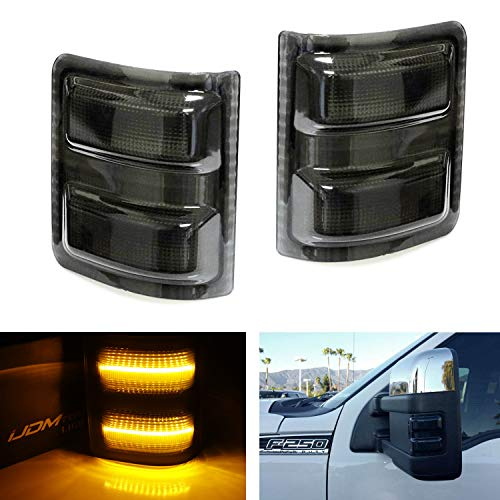iJDMTOY (2) Smoked Lens Amber LED Side Mirror Marker Lamps For 2008-16 Ford F250 F350 F450 Super Duty ()