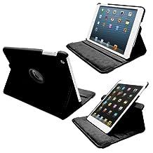 Fosmon Apple iPad Mini 3 / 2 / 1 GYRE Series 360-Degree Revolving Stand Leather Case (With Sleep & Wake Functionality) for iPad Mini 3 / 2 / 1 - Black