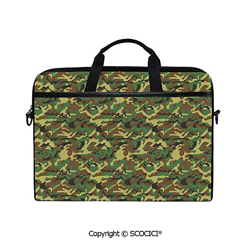 Personalized Laptop Bag 14-15 Inch Messenger Bag Woodland Camouflage Pattern Abstract Army Force Hiding in Jungle Shoulder Sleeve Case Tablet Briefcase