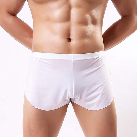 Swbreety Mens Ice Silk Boxer Briefs Shorts Split Side Trunks Underpants