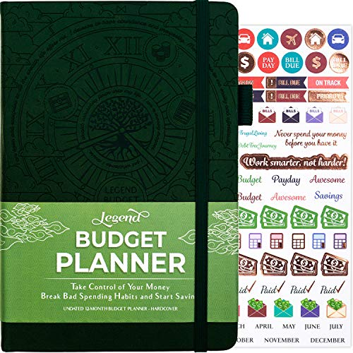 Legend Budget Planner - Deluxe Financial Planner Organizer & Budget Book. Money Planner Account Book & Expense Tracker Notebook Journal for Household Monthly Budgeting & Personal Finance - Dark Green