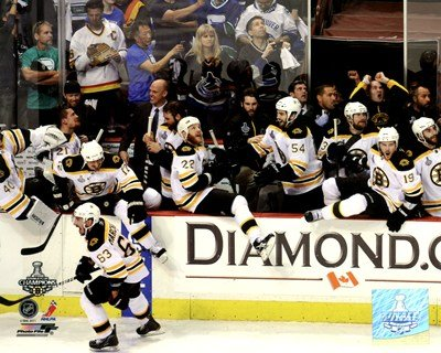 (Boston Bruins Bench Celebration Game 7 of The 2011 NHL Stanley Cup Finals(#55) - 10x8 Inches - Art Print Poster )