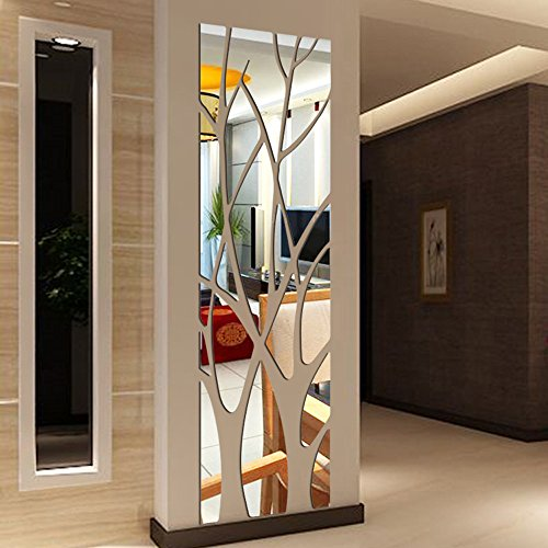 Coohole Removable Modern Mirror Style Decal Art Mural Wall Sticker Home Room DIY Decor (Silver)