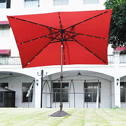 Rectangular Patio Umbrella With Solar Lights Amazing Abba Patio 60 By 60 Feet Rectangular Patio Umbrella With Solar Powered