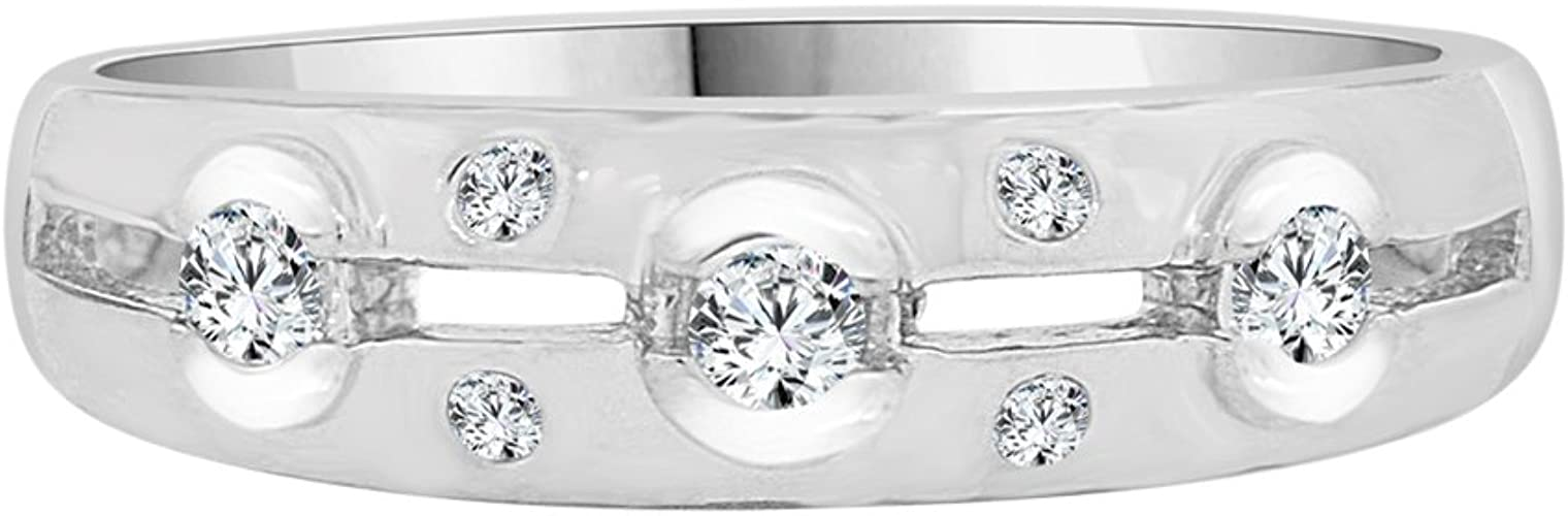 Man Guy Gent Wedding Band Ring Created CZ Crystals White Rhodium Plated Metal