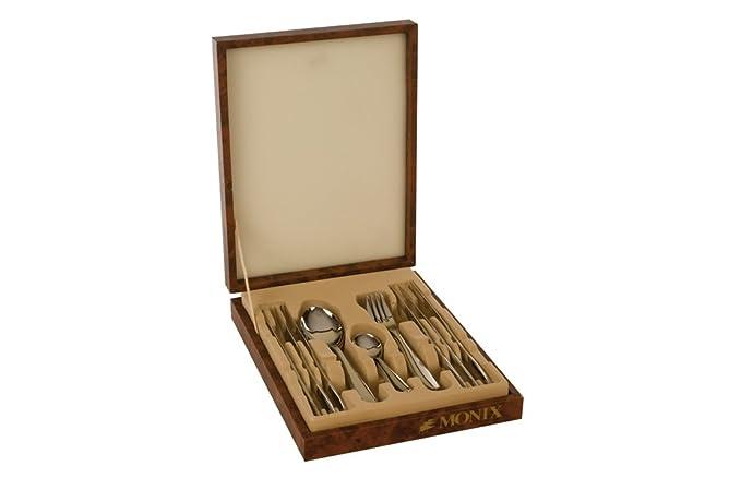 Monix Manila - Set de cubiertos 49 piezas, cubiertos de acero inox 18/10 con estuche Nogal, cuchillo normal: Amazon.es: Hogar