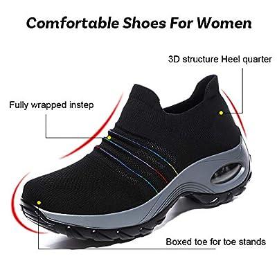 DierCosy Nursing Shoes for Women Black Slip Resistant Shoes Mesh Breathable Lightweight Comfortable Nurse Shoes