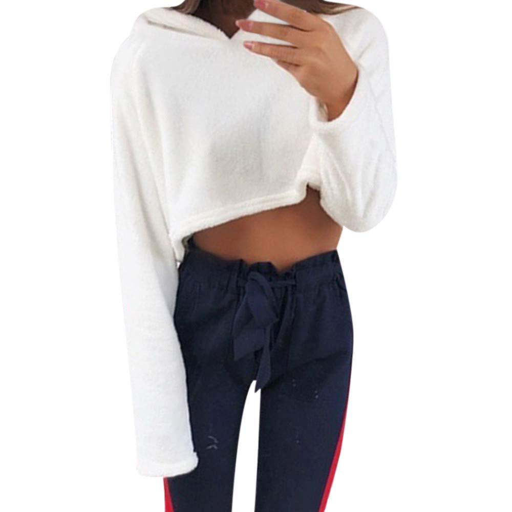 ❤ Sudadera Corta de Felpa para Mujer, Moda Casual para Mujer Sudadera de Manga Larga Jersey con Cuello Redondo Blusa sólida Absolute: Amazon.es: Ropa y ...