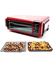 Ninja SP101 8-in-1 Air Fry Large Toaster Oven Flip-Away for Storage Dehydrate Keep Warm 1800w XL Capacity (Renewed) RED
