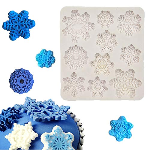 (Snowflake Christmas Silicone Fondant Tools Snowflake Mold for Cake Baking Decoration Mold Ice Snowflake Cookie Cutters Mold 1 Piece)