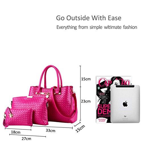 Shoulder 3 Bag New Handbag Nicole Bags Pu Purse Leather Piece amp;Doris Tote Bag Rose Set Women White wxfqwCtIn