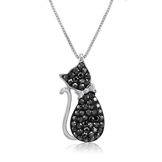 Amazon sterling silver black crystal cat pendant made with sterling silver black crystal cat pendant made with swarovksi crystals audiocablefo