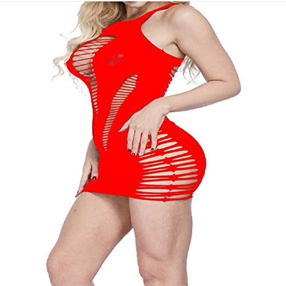 pink ladygaga Womens Mesh Lingerie Fishnet Babydoll Mini Dress Stretch Chemise Bodysuit /…
