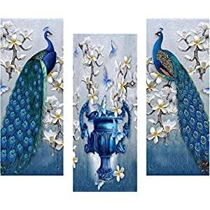 SAF 6 MM MDF Peacock Designer Self Hanging Adhesive Digital Reprint 15 inch x 18 inch Painting SANFJ94