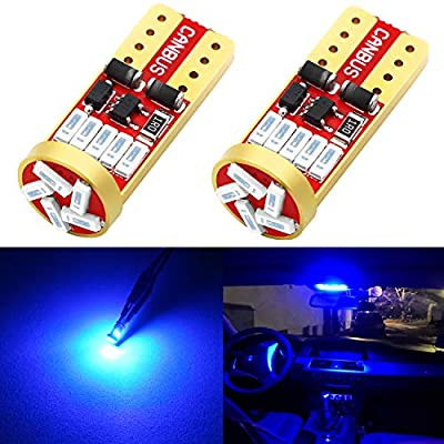 Phinlion 194 LED Blue Super Bright 168 2825 175 T10 Wedge 15-SMD 4014 Chipsets LED Replacement Bulbs for Car Dome Map Reading Door Courtesy License Plate Lights: Automotive