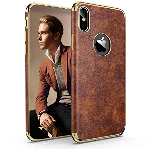 LOHASIC iPhone Xs Max Leather Case, Premium Leather Luxury Slim Fit Soft Flexible Hybrid TPU Bumper Shockproof Full Body Protective Cover Cases for iPhone Xs Max (Vintage Brown) ()