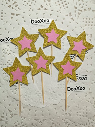 DOOXOO Gold and Pink Glitter Star Cupcake Toppers, Party Decor, New Years Eve, Wedding, Double-Sided, Set of 12