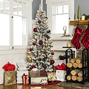 Best Choice Products 7.5ft Pre-Lit Artificial Snow Flocked Christmas Pencil Tree Holiday Decoration w/ 350 Clear Lights 2