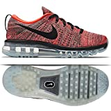 NIKE WMNS FLYKNIT MAX RUNNING SHOES SNEAKERS (620659 008) (9.5, Black/Black-Hyper Orange-Sunset Glow) For Sale