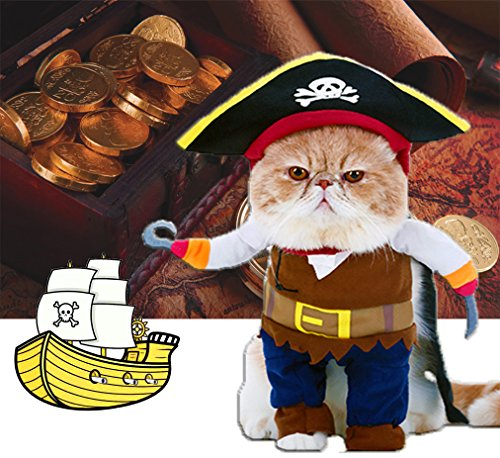 Funny Halloween Pet Costumes (Pet Pirates Costumes Dog Funny Clothes Cat Costume with Hat Halloween Suits for Small Dog Cat Puppy by DELIFUR (S))