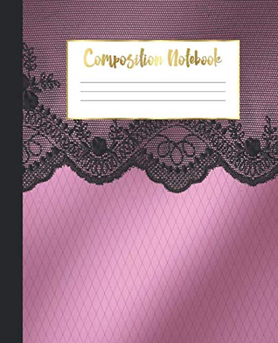 Rule Satin - Composition Notebook: Wide Ruled Notebook | Satin Black Lace |  Lined Journal | 100 Pages |  7.5 x 9.25