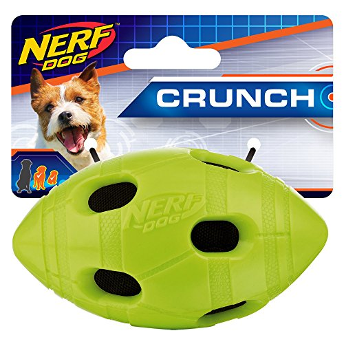 - Nerf Dog 4in TPR Bash Crunch Football - Green, Dog Toy