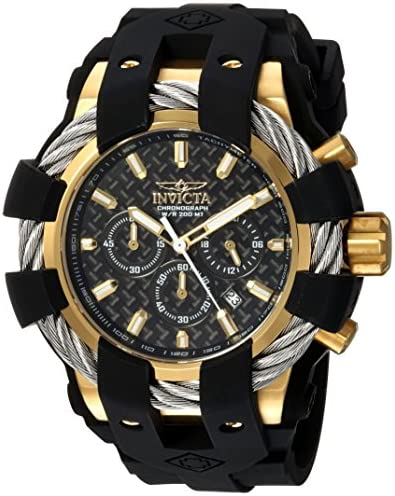 Invicta Men s Bolt Stainless Steel Quartz Watch with Silicone Strap, Black, 32 Model 23860
