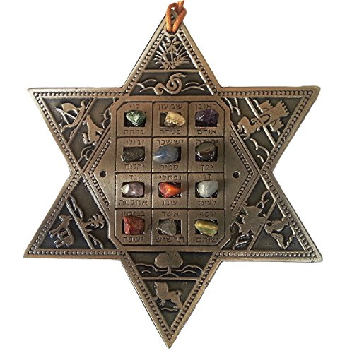 - Star of David w/ 12 choshen gems as Israel tribes in Hebrew real stones !