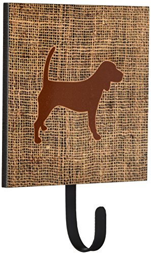 Beagle Leash Hook (Caroline's Treasures BB1087-BL-BN-SH4 Beagle Burlap and Brown Leash or Key Holder Bb1087, Small, Multicolor)