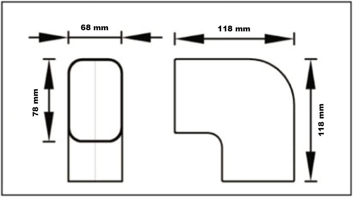 Curva 90 grados plana CP 100 EXC para canal aire acondicionado canaleta