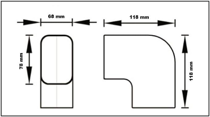 Curva 90 grados plana CP 72 EXC para canal aire acondicionado cable canal f7t