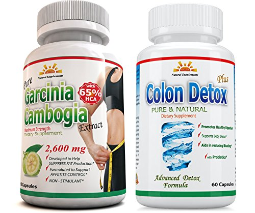 65% HCA 2600 mg ORIGINAL AS SEEN on TV, 2 Extra Strength Garcinia Cambogia Pure Extract plus 1 COLON DETOX, Potent, Appetite Suppressant, Natural, Fat Burner, 45 DAYS RETURN, Same Day Shipping