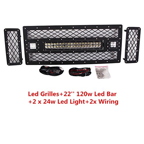 Lumitek 2008-2010 Ford F250 F350 Led Grilles, Front Grille Mesh Grill Replacement with Led Work Light Bar And Free Wiring Harness