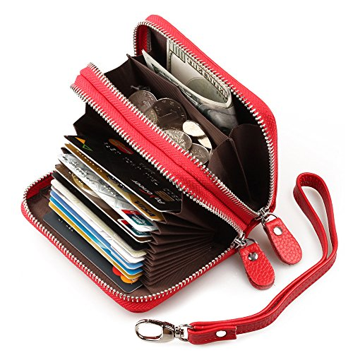 RFID Blocking Women's Genuine Leather Credit Card Wallet Holder Zipper Pocket Small Purse Red