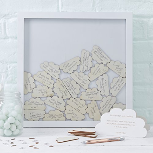 Ginger Ray Cloud Drop Top Frame Baby Themed Guest Book - Hello World (Drop Frame)