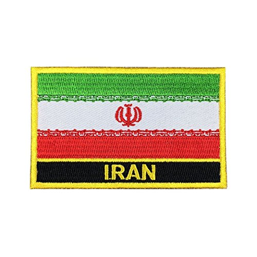 Iran Flag Patch / Iron-On Morale Patches (Iranian Sew On w/ words, 2