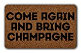 JXSED Come Again and Bring Champagne Door Mat Indoor/Outdoor Rubber Non Slip Doormat for Patio Front Door 16x24