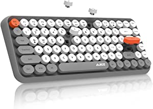 NACODEX 308I Wireless Bluetooth Keyboard with Compact 84 Keys Cute Retro Round Keycaps - Comfortable Ergonomic Typewriter Keyboard Compatible with Android Windows Mac(Grey)